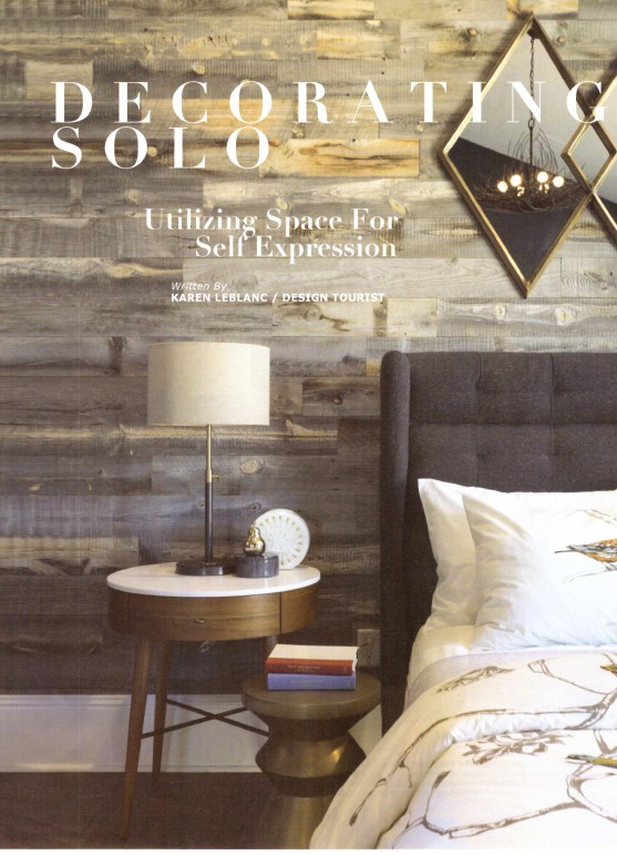 Decorating Solo Article written by Karen LeBlanc for LaPalme Magazine