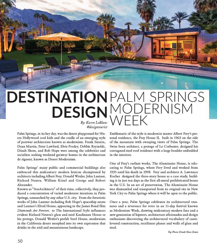 Palm Springs Modernism Week Article in La Palme Magazine by Karen LeBlanc