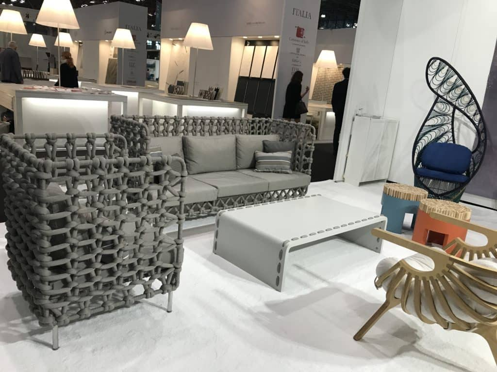 The Cabaret High Back Sofa and High Back Lounge Chair by Designer Kenneth Cobonpue. One of my favorite design finds at ICFF. Photo credit: The Design Tourist