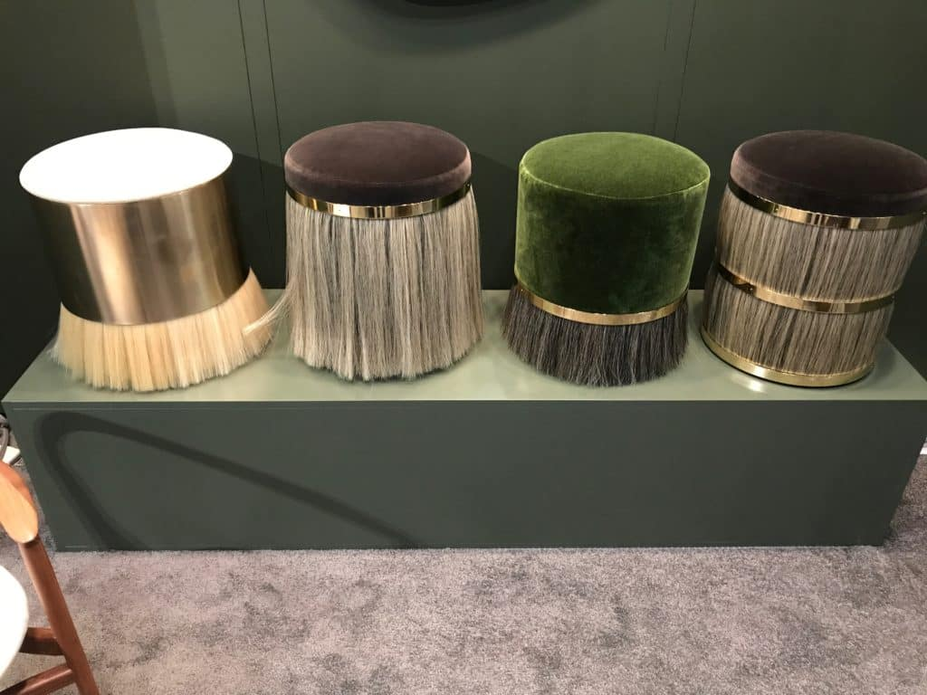 The Thing Stools from Konekt Furniture add a dash of fringe with horsehair and material mix of brass banding and velvet upholstered tops. Photo Credit: The Design Tourist
