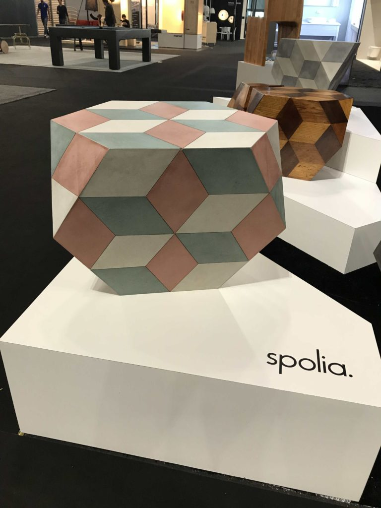 The Bolognese Stool or Table by Tino Valentinitsch for Spolia skillfully combines marquetry with modern angular shapes. Photo Credit: The Design Tourist
