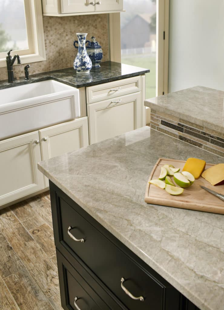 Madreperola quartzite from Brazil is a creamy and gray slab. Photo credit: MS International Inc. Quartzite is a very hard metamorphic rock that originated as sandstone. Through a process of high heating and pressurization sandstone is transformed into quartzite, an extremely strong and durable natural stone. Quartzite is ideal for any countertop surface due to its strength and long-lasting composition. Consider quartzite countertops for their strength, beauty, and overall durability.
