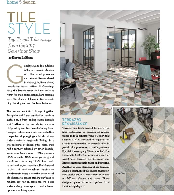 Tile Style Article In Orange Appeal Magazine