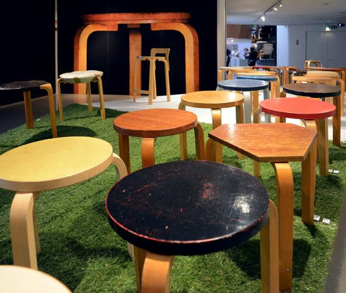 Modernist Architect and Designer Alvar Aalto's iconic three-legged stools are on view at the Aalto Museum in Helsinki. For more design destinations, subscribe to the channel at youtube.com/TheDesignTourist