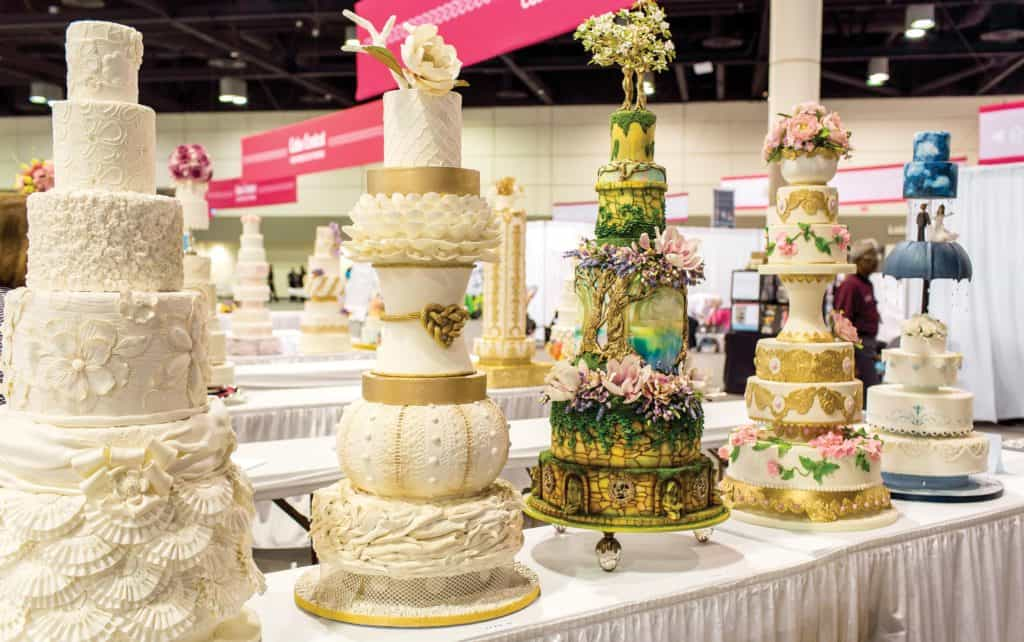 Wedding cake designs on display at The Americas Cake Fair. photo credit: The Americas Cake Fair