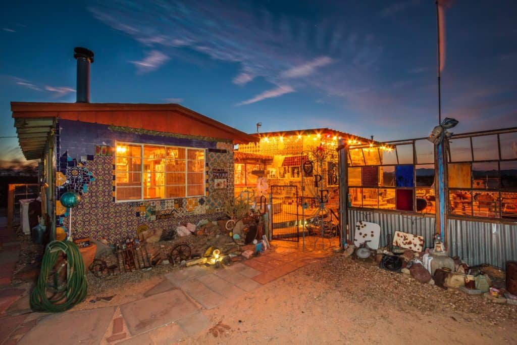 The Tile House in Twentynine Palms CA hosts guests looking for unique accommodations on Airbnb. Full of quirky design inspiration, the home is an artist's haven. Photo credit: Airbnb