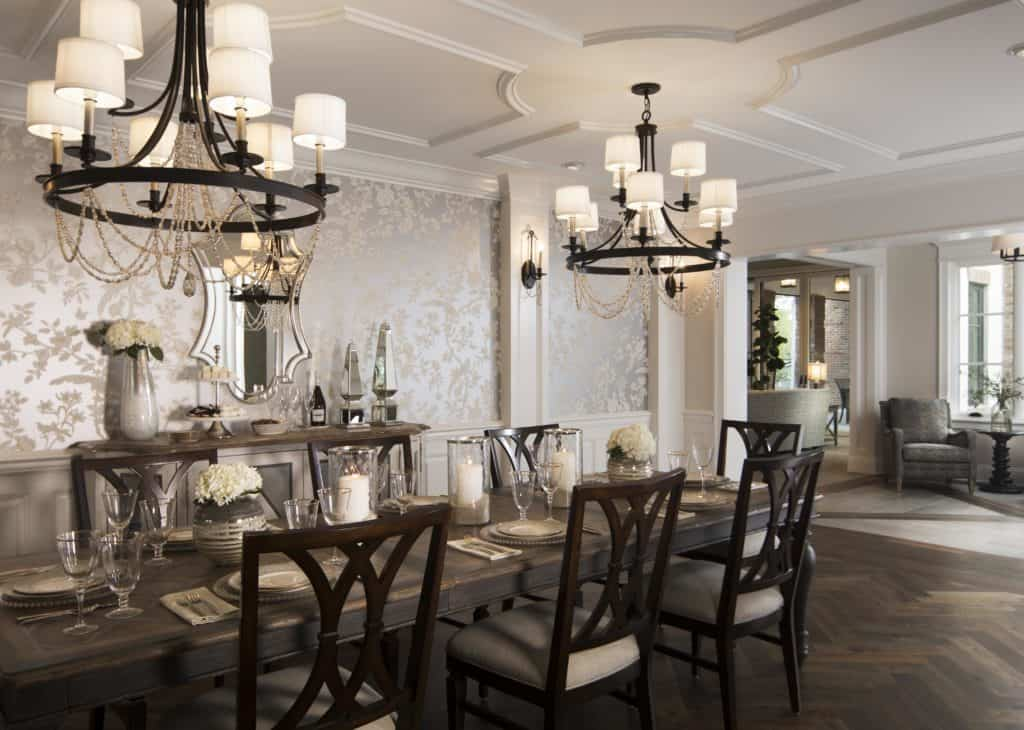 Chandeliers in the dining room of the 2018 Remodeled Home built by Farina & Sons.