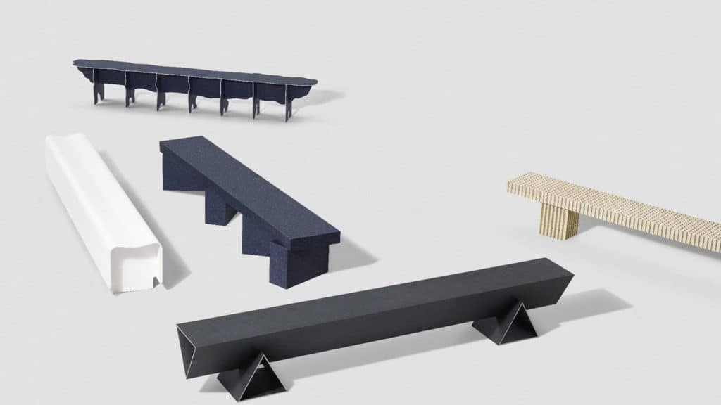 Benches crafted of recycled materials. photo credit: Heimtextil