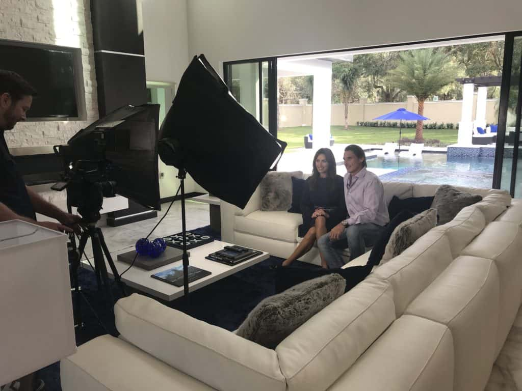 The Design Tourist and the home's builder Jorge Ulibarri on set filming a tour of the Florida Modern custom residence. For more, subscribe to the youtube.com/thedesigntourist