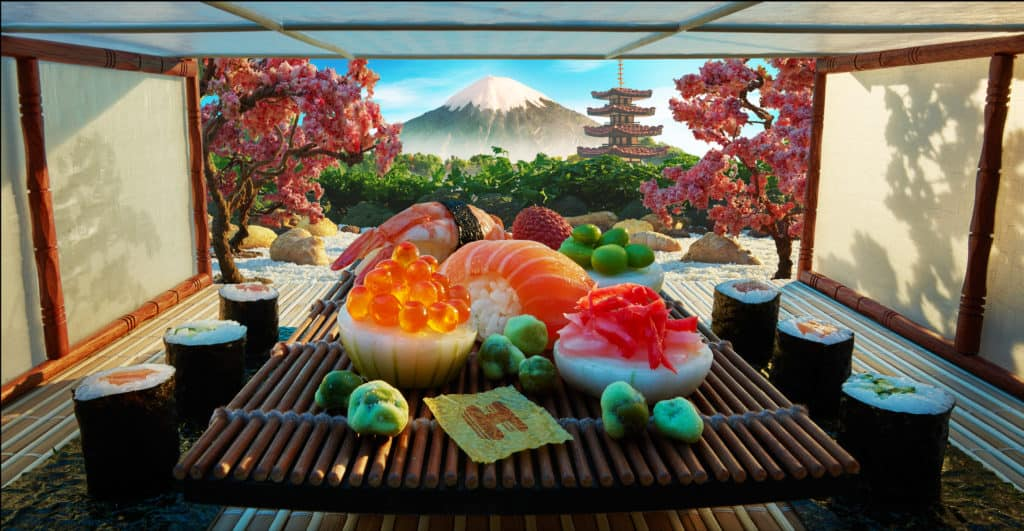 Food artist Carl Warner created this city scene of Tokyo featuring a zen garden and tea ceremony overlooking Mount Fuji out of Maki rolls, ginger and shiitake mushrooms. Photo credit: Hotels.com