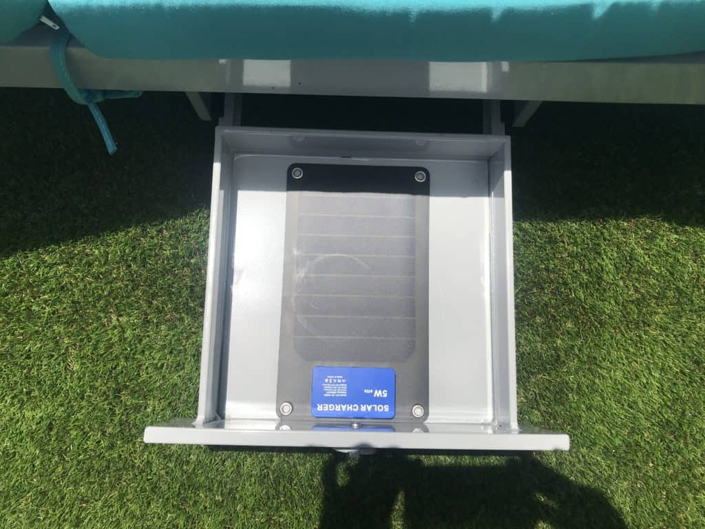 Each Two Way Chaise Lounge was a built-in drawer that contains a solar charger to charge electronic devices poolside.