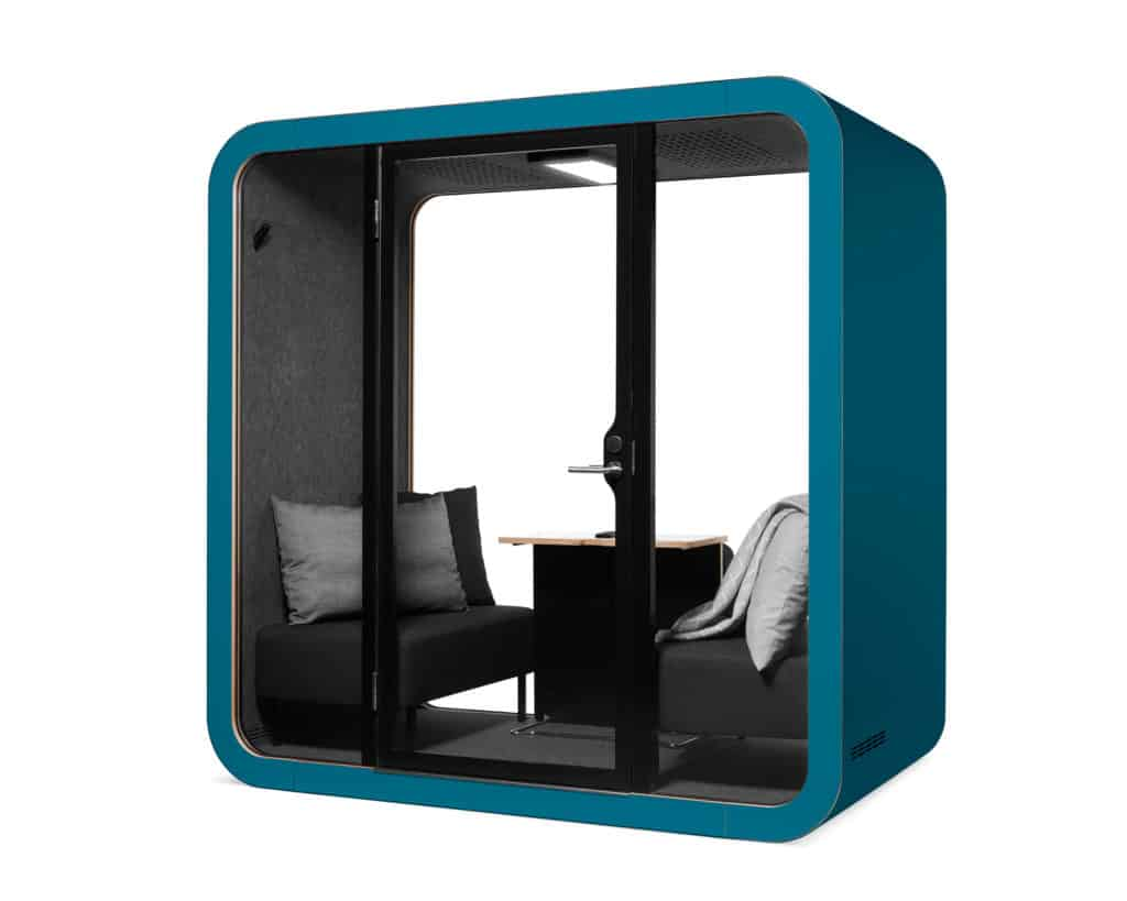 Framery Q provides a stylish solution with a quiet and comfortable space designed for two users to have meetings, work sessions and important conversations.