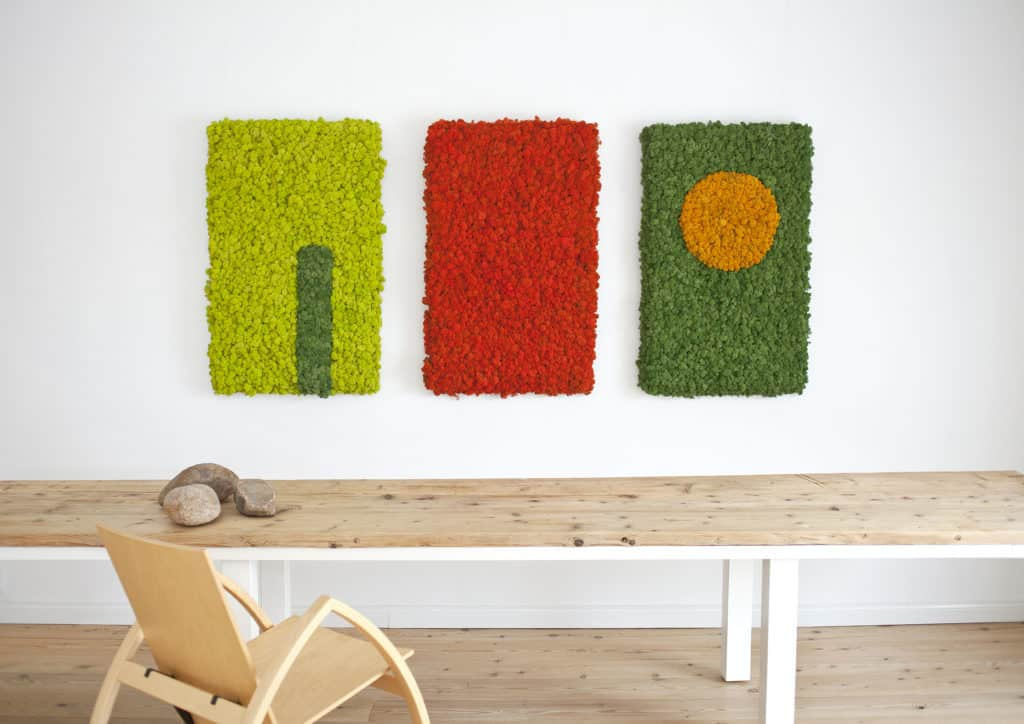 Polarmoss Flex Element, made of reindeer moss, panels for interior walls.