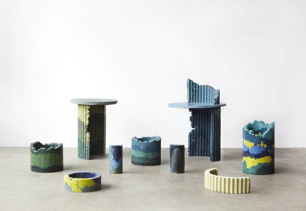Charlotte Kidger's Industrial Craft Collection is a material based project focused around utilizing plastic waste streams associated with CNC fabrication. Photo Credit: London Design Fair