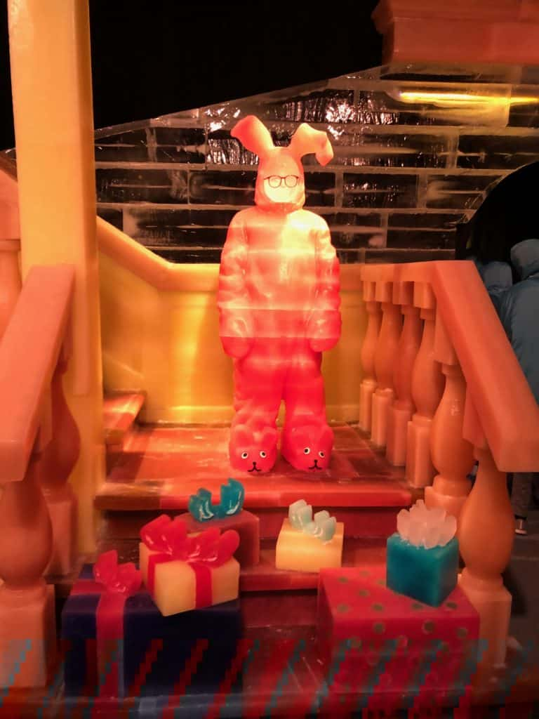 """Ralphie dressed in his pink bunny pjs in the scene """"Aunt Clara's pink nightmare"""" from the movie, A Christmas Story"""