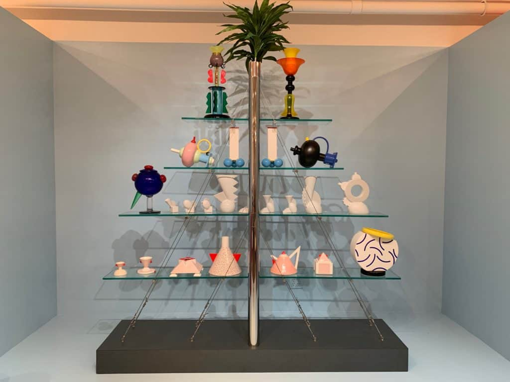 Magnolia, 1985 Andrea Branzi. This ziggurat-shaped set of shelves is unusual among Memphis objects for its high tech and complex engineering. Photo credit: The Design Tourist