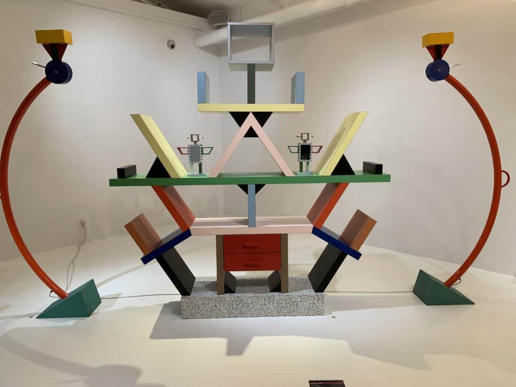 The Carlton Bookcase by Ettore Sottsass, is one of 20 pieces on exhibit that once belonged to David Bowie and are now in the hands of private collectors. The pieces are on loan for the exhibit at the Modernism Museum. Photo credit: The Design Tourist