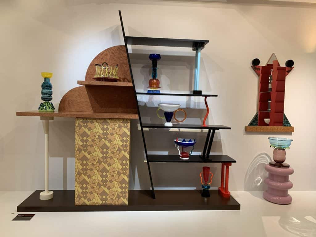 Malabar, 1982 by Ettore Sottsass This shelf from the Memphis Group collection is made of plastic laminate wood and painted metal. Photo credit: The Design Tourist