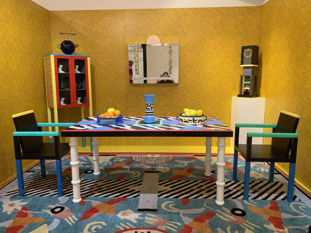 Pictured in this vignette are the Palace Chairs, 1983 by George Sowden and the Madras Table, 1986 by Nathalie Du Pasquier. Photo credit: The Design Tourist