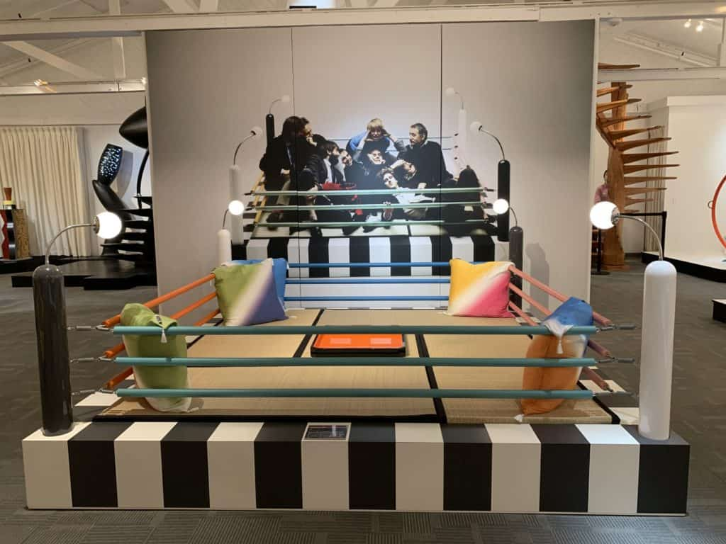 Tawayara, 1981 by Masanori Umeda. The iconic boxing ring seating is made of lacquered wood. Photo credit: The Design Tourist