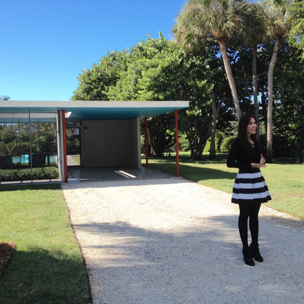 Karen LeBlanc, aka The Design Tourist, filming at The Revere Quality House in Sarasota, Florida, designed by architects Paul Rudolph and Ralph Twitchell.