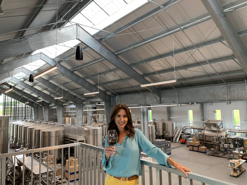 Karen LeBlanc, aka The Design Tourist, at the Silver Oak winemaking facility in its Alexander Valley vineyards.