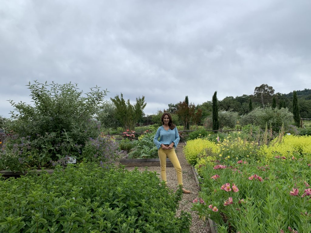 Karen LeBlanc, aka The Design Tourist, touring Quivira's organic gardens in Sonoma County's Dry Creek Valley.
