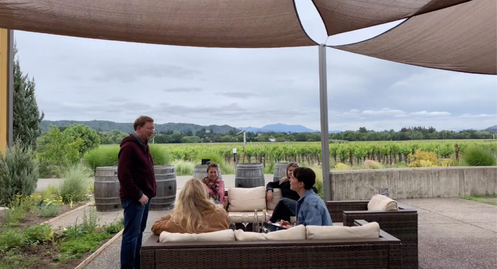Wine tasting on the patio at Quivira overlooking Mount St. Helena and the vineyards.
