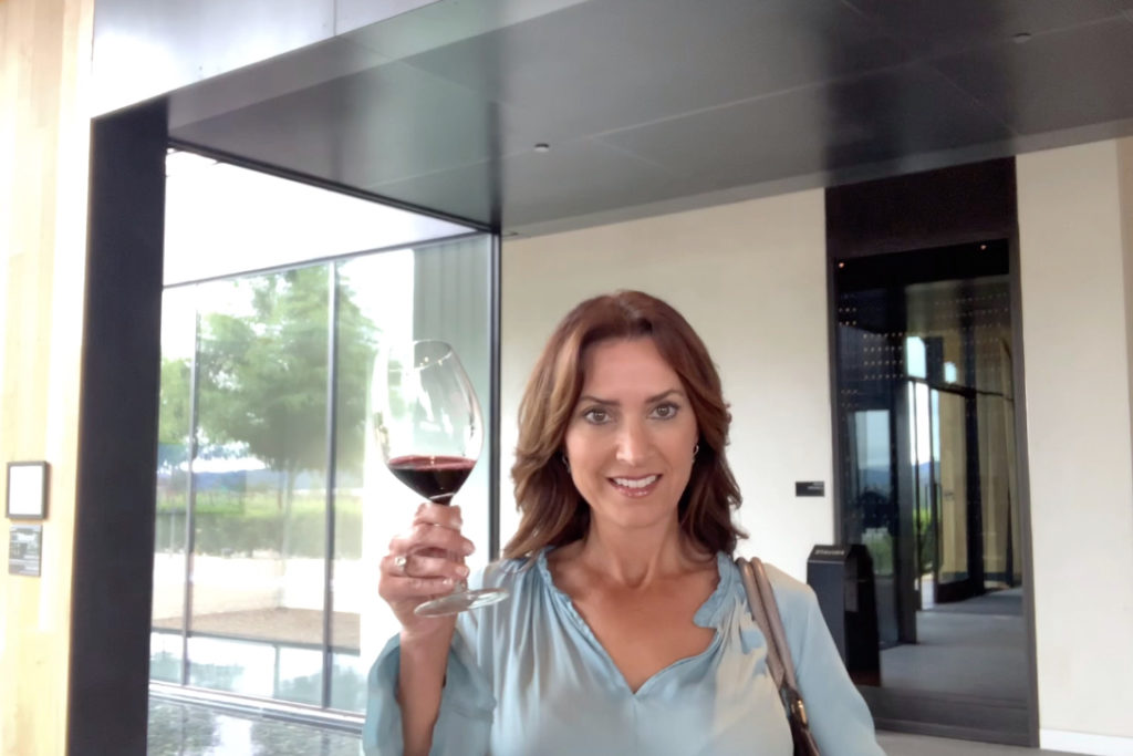 Karen LeBlanc, aka The Design Tourist, tasting Silver Oak Cabs in the tasting room at its Alexander Vineyards.