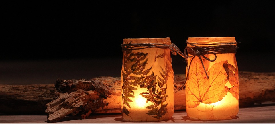 Decorative jar lanterns, showing one of the easy Halloween decoration ideas.