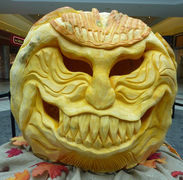 An artful pumpkin carving.