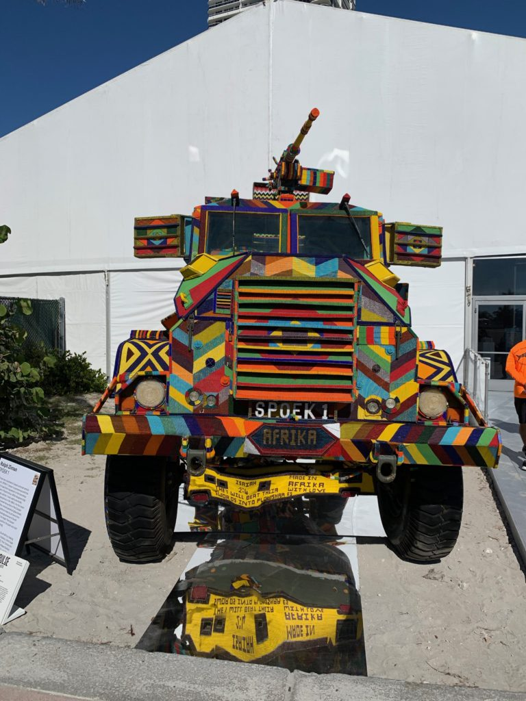 The Rendon Gallery presented the Casspir Project by South African artist Ralph Zim including this outdoor installation, the SPOEK 1 covered in colorful beads at PULSE Art Fair during Miami Art Week