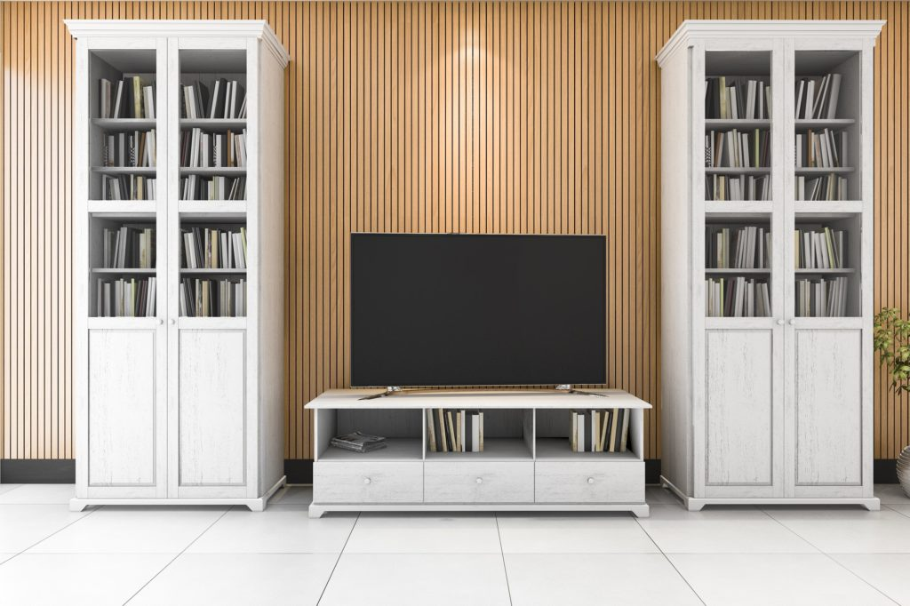 3d rendering minimal living room with tv and cabinet