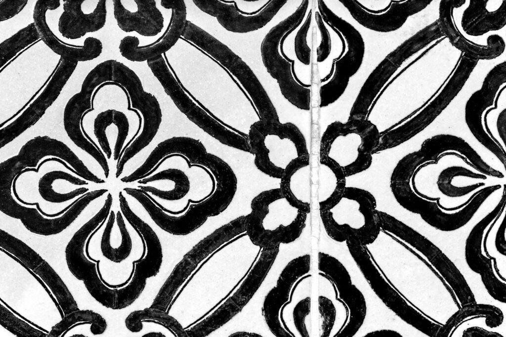 Black floral tiles