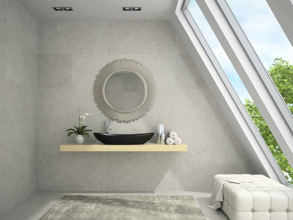 Interior of mansard badroom with round mirror 3D rendering