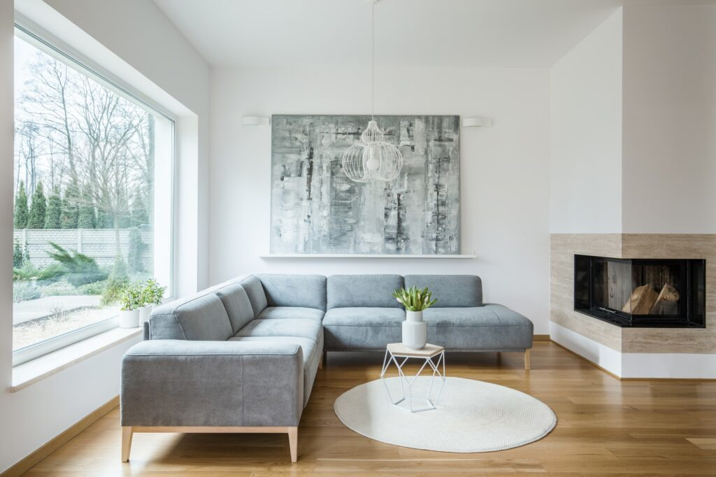 Painting in grey apartment interior