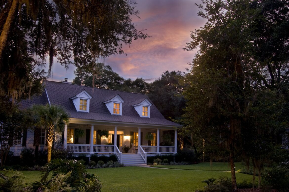 classic home at sunset