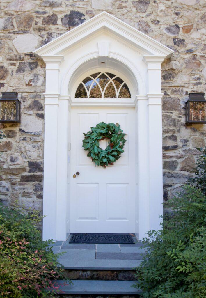 Front Door with laurel wreath