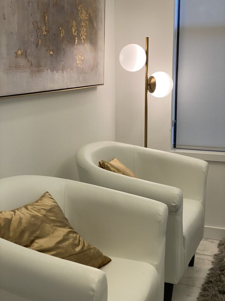 The Castell Collection 2 Globe Floor Lamp in Aged Brass from Lights.com in my home office. Photo credit: The Design Tourist, aka, Karen LeBlanc