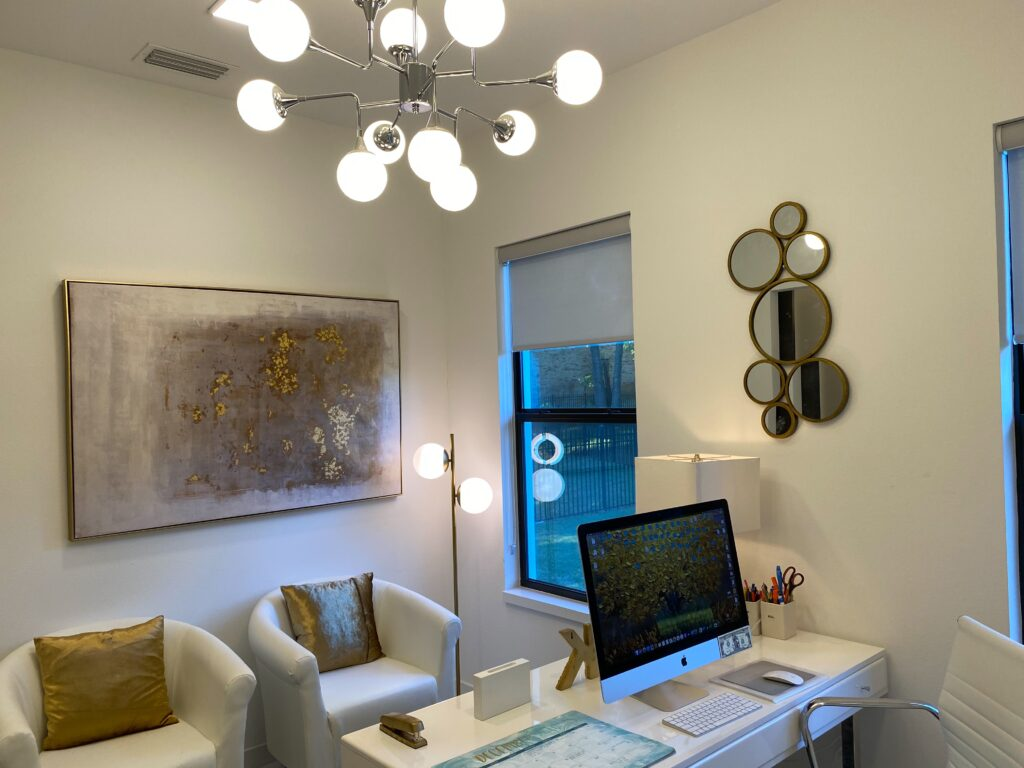 The white and gold color palette of my home office provides the canvas to showcase my new aged brass, frosted globe floor lamp from Lights.com Photo credit: The Design Tourist, aka, Karen LeBlanc