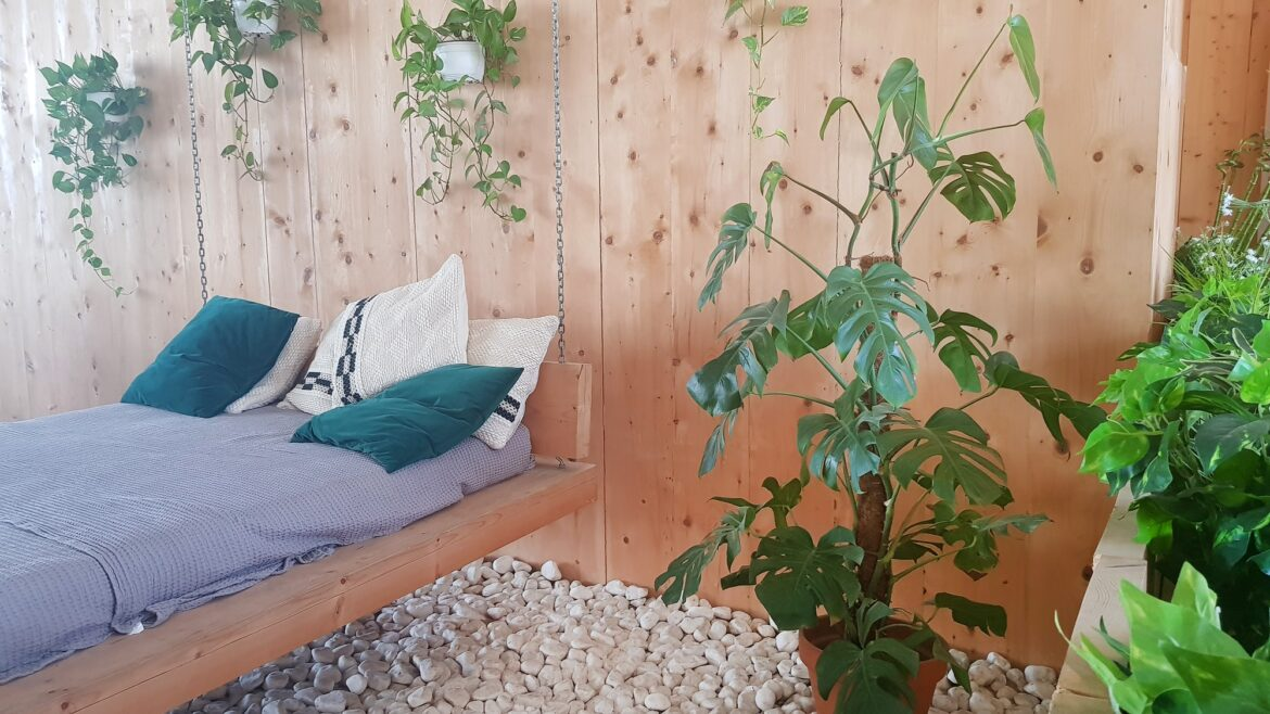 Natural wooden modern interior, relax zone, eco friendly furniture