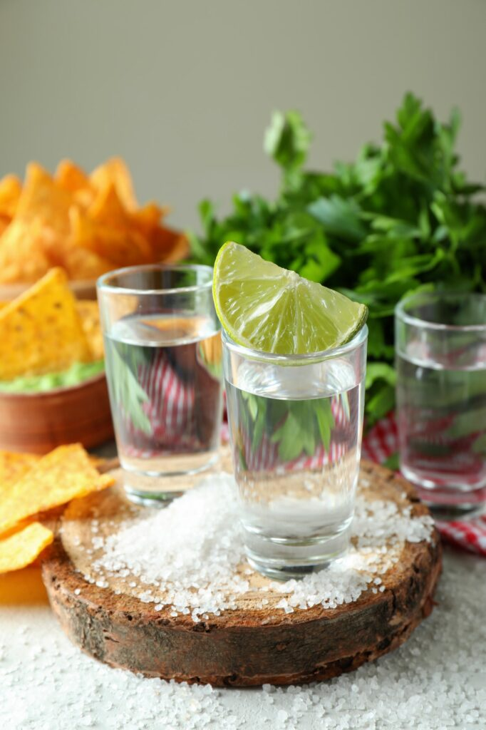 Party concept with tequila, guacamole and chips