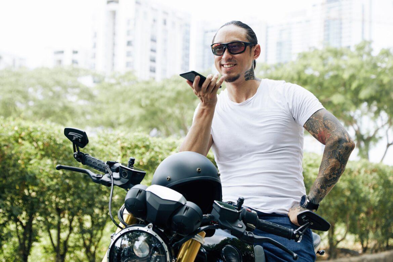 Motorcyclist Recording Voice Message